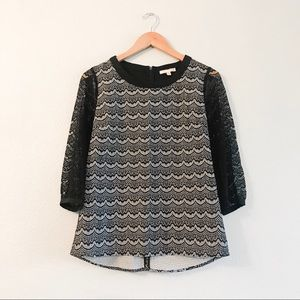 Skies Are Blue Black and White Lace Blouse